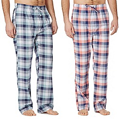 Mantaray - Pack of two orange and turquoise checked lounge bottoms
