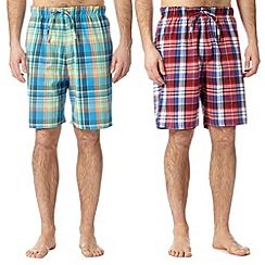 Mantaray - Pack of two red and blue madras checked lounge shorts