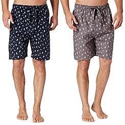 Mantaray - Pack of two navy palm tree loungewear shorts