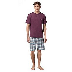 Mantaray - Purple marl t-shirt and checked shorts loungewear set