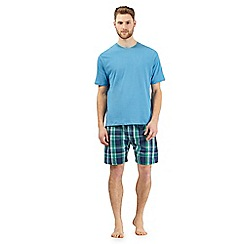 Maine New England - Big and tall light blue checked short sleeved top and shorts loungewear set