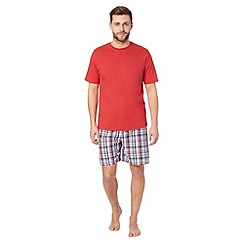 Maine New England - Red checked t-shirt and shorts pyjama set