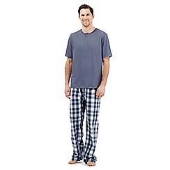 Maine New England - Big and tall mid blue checked loungewear set
