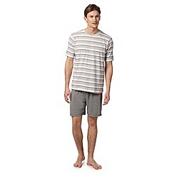 Maine New England - Grey striped t-shirt and jersey shorts loungewear set