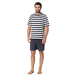 Maine New England - Big and tall navy cotton blend striped t-shirt and shorts loungewear set