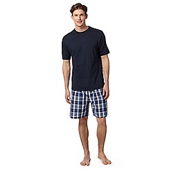 Maine New England - Big and tall navy t-shirt and checked shorts loungewear set