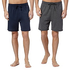 Maine New England - Big and tall pack of two navy jersey shorts