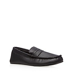 Maine New England - Black fleece lined moccasin slippers