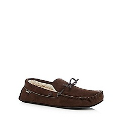 Totes - Dark brown suedette moccasin slippers in a gift box