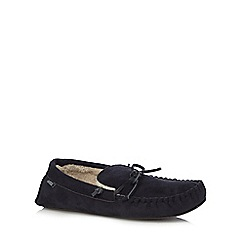 Totes - Navy suedette moccasin slippers in a gift box