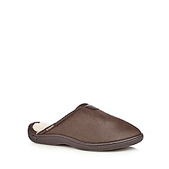 Totes - Brown pebble-effect mule slippers