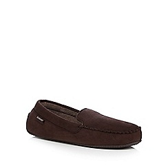Totes - Dark brown driving sole moccasin slippers