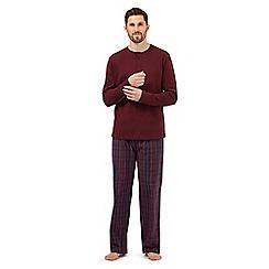 Maine New England - Dark red checked pyjama top and bottoms set