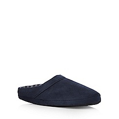 Maine New England - Navy fleece striped mule slippers