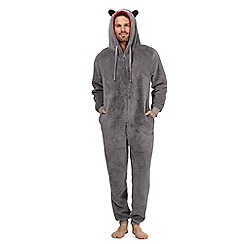 Mantaray - Grey wolf fleece onesie