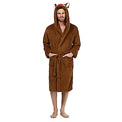 Mantaray - Tan reindeer hooded dressing gown