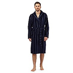J by Jasper Conran - Navy stitch striped velour dressing gown