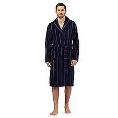 J by Jasper Conran - Navy stitch striped velour dressing gown