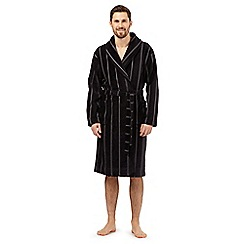 J by Jasper Conran - Black stitch striped velour dressing gown