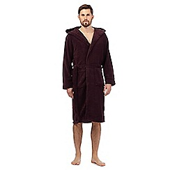 J by Jasper Conran - Dark red fleece hood dressing gown