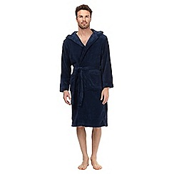 J by Jasper Conran - Navy luxury hooded fleece dressing gown