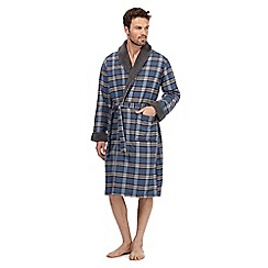RJR.John Rocha - Blue checked sherpa collar dressing gown