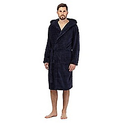 J by Jasper Conran - Dark blue checked fleece dressing gown
