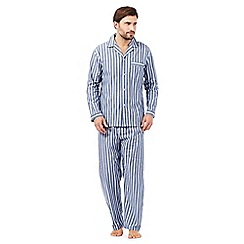 Maine New England - Big and tall blue striped long sleeved pyjama set