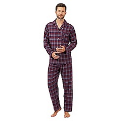 Maine New England - Dark red checked long sleeved pyjama set