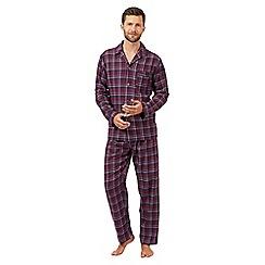 Maine New England - Dark red checked long sleeved pyjama set