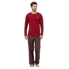 Calvin Klein - Dark red striped top and bottoms pyjama set