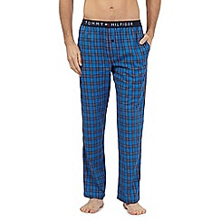 Tommy Hilfiger - Blue checked woven lounge bottoms