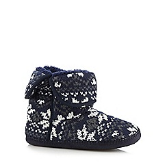 Mantaray - Navy chunky knit fairisle slipper boots