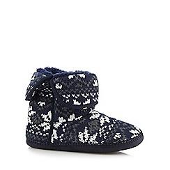 Mantaray - Navy chunky knit fairisle slipper boots
