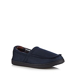 Maine New England - Navy 'Thinsulate' checked slippers