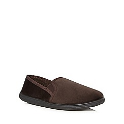 Maine New England - Dark brown velvet moccasin slippers