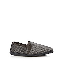 Maine New England - Khaki checked moccasin slippers