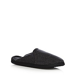 Maine New England - Grey herringbone fleece mule slippers
