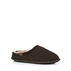 RJR.John Rocha - Dark brown herringbone mule slippers