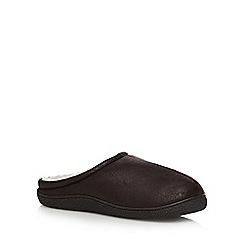 Mantaray - Dark brown fleece lined distressed mule slippers
