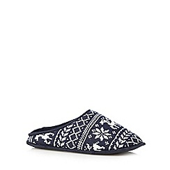 Mantaray - Navy Fair Isle-inspired mule slippers