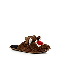 Mantaray - Brown flashing nose reindeer mule slippers