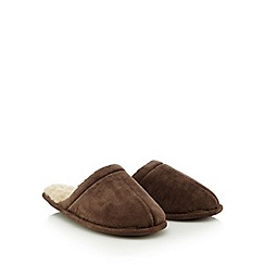 Maine New England - Beige fleece mule slippers in a gift box