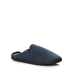 Maine New England - Navy herringbone mule slippers in a gift box