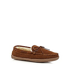 RJR.John Rocha - Tan suede faux fur lined moccasin slippers
