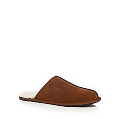 RJR.John Rocha - Brown leather mule slippers in a gift box