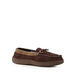 Maine New England - Dark brown 'Thinsulate' fleece lined moccasin slippers