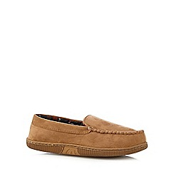 Maine New England - Tan 'Thinsulate' fleece lined moccasin slippers