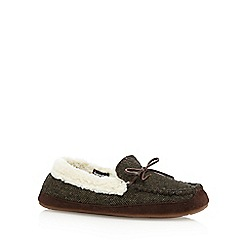 RJR.John Rocha - Dark green herringbone moccasin slippers