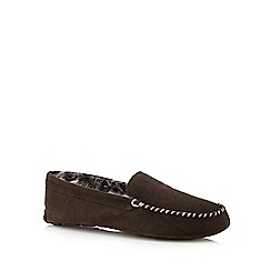 RJR.John Rocha - Dark brown leather faux fur moccasin slippers